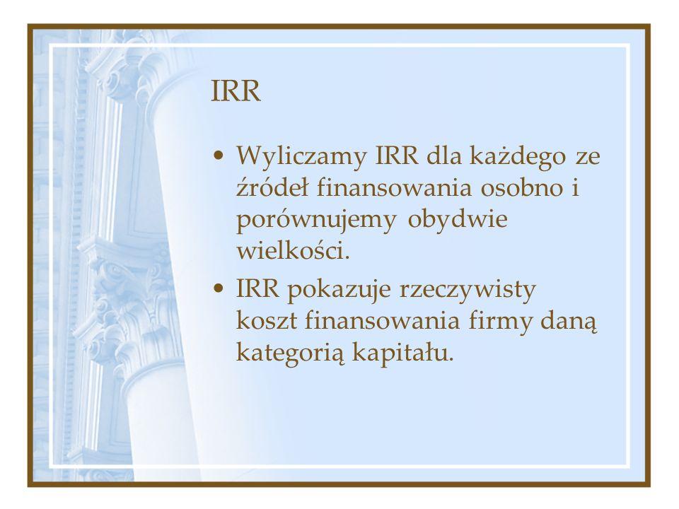 IRR Wyliczamy IRR dla każdego ze źródeł finansowania osobno i porównujemy obydwie wielkości.