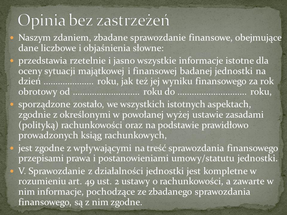 Opinia bez zastrzeżeń Naszym zdaniem, zbadane sprawozdanie finansowe, obejmujące dane liczbowe i objaśnienia słowne: