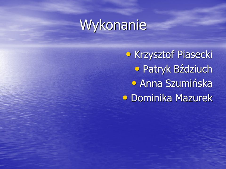 Wykonanie Krzysztof Piasecki Patryk Bździuch Anna Szumińska