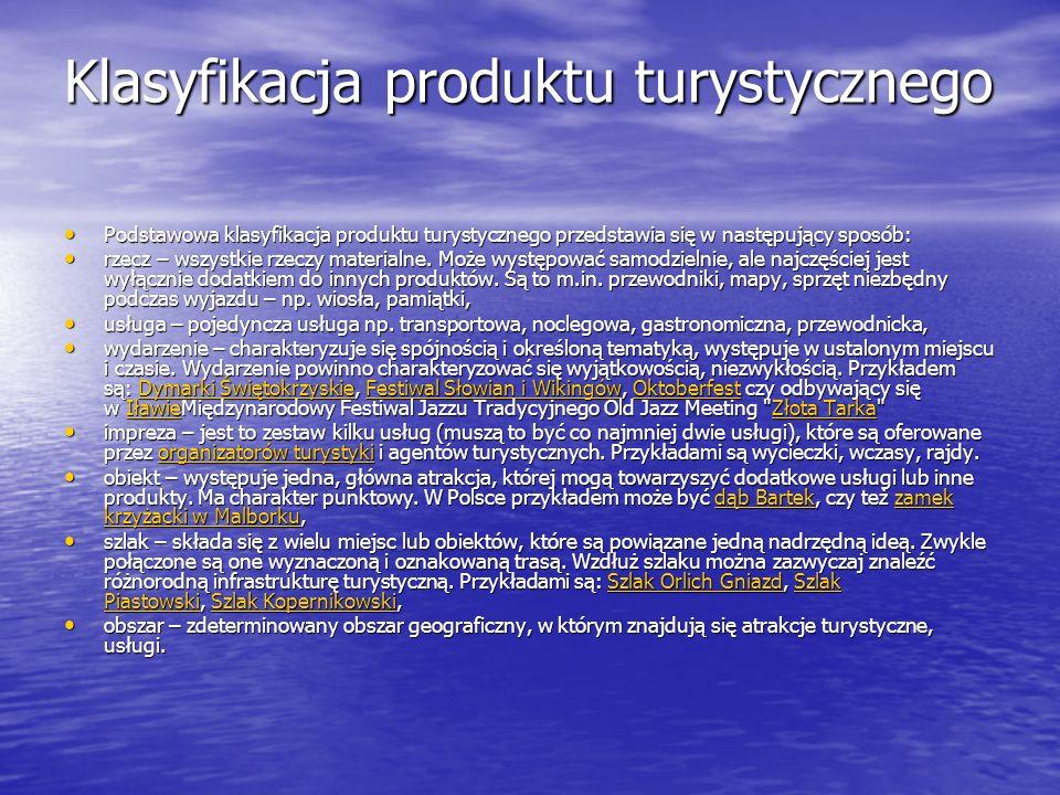 Klasyfikacja produktu turystycznego
