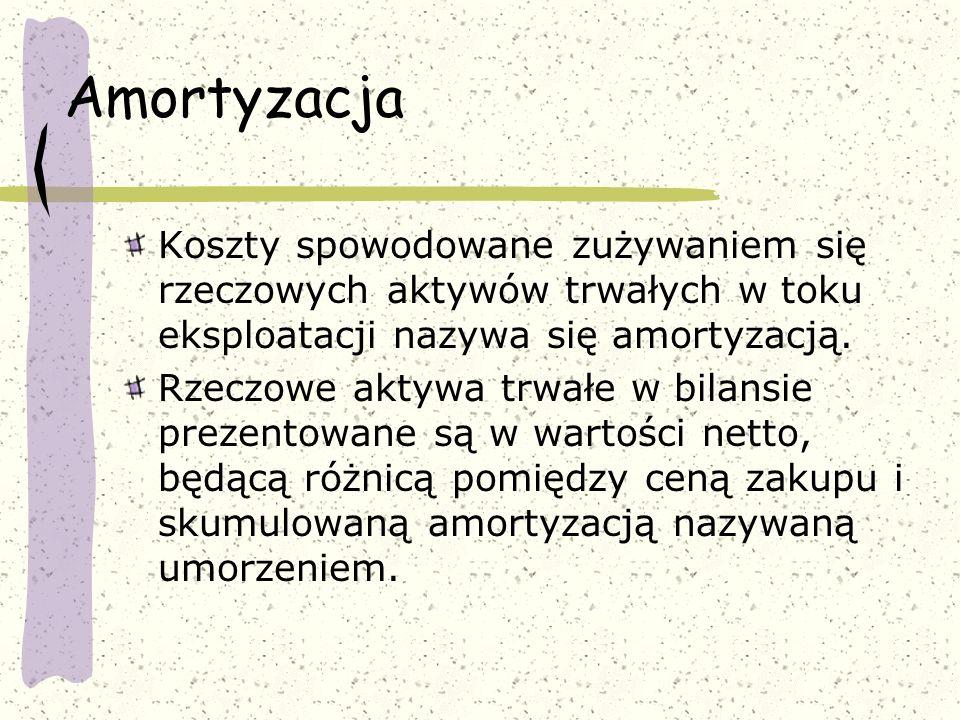 Amortyzacja Koszty spowodowane zużywaniem się rzeczowych aktywów trwałych w toku eksploatacji nazywa się amortyzacją.