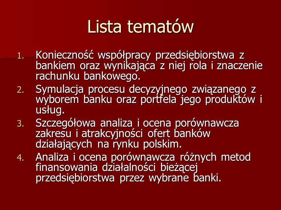 Lista tematów Konieczność współpracy przedsiębiorstwa z bankiem oraz wynikająca z niej rola i znaczenie rachunku bankowego.
