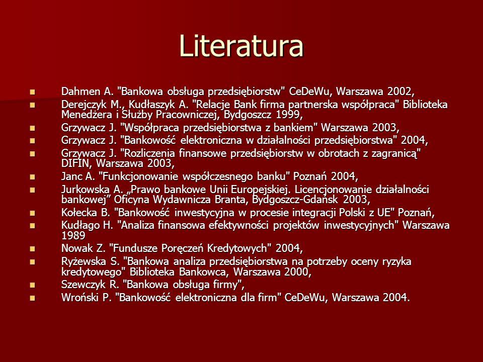 Literatura Dahmen A. Bankowa obsługa przedsiębiorstw CeDeWu, Warszawa 2002,