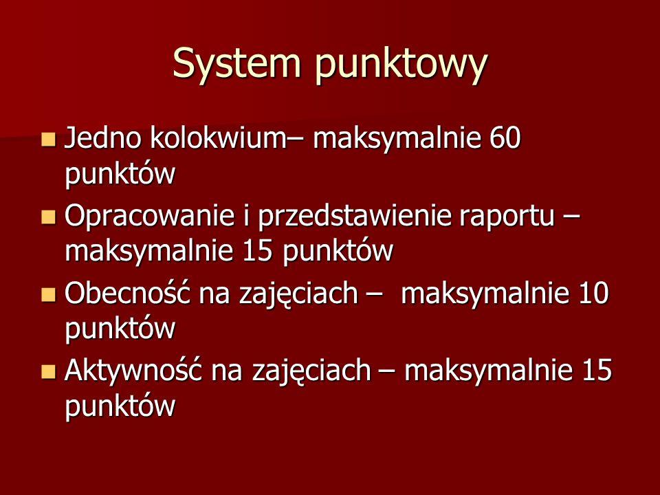 System punktowy Jedno kolokwium– maksymalnie 60 punktów