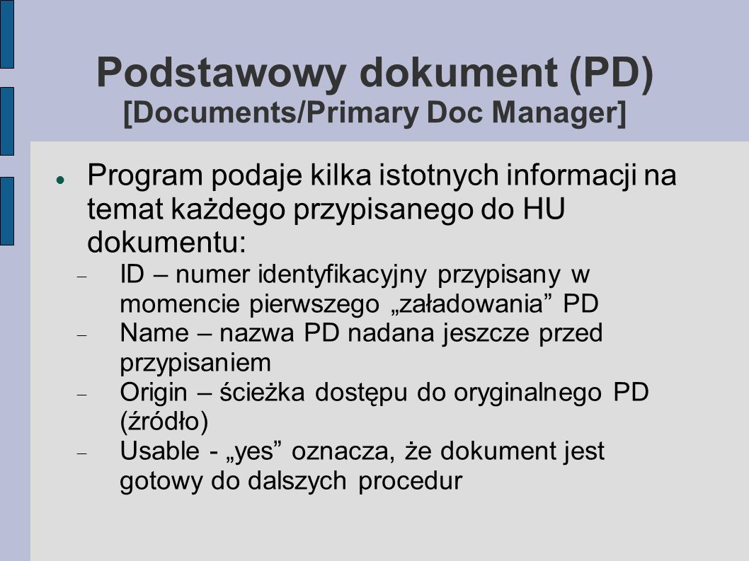 Podstawowy dokument (PD) [Documents/Primary Doc Manager]