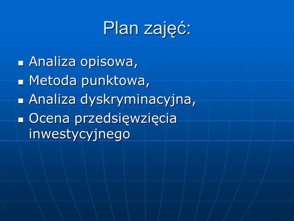 Plan zajęć: Analiza opisowa, Metoda punktowa, Analiza dyskryminacyjna,