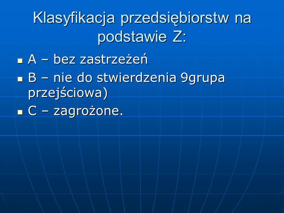 Klasyfikacja przedsiębiorstw na podstawie Z: