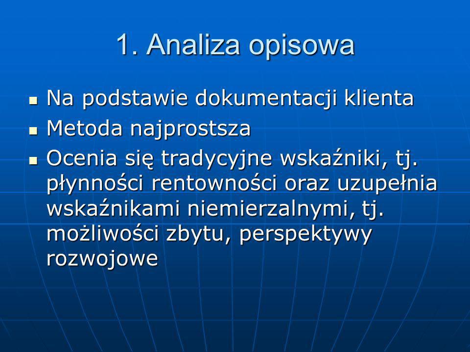 1. Analiza opisowa Na podstawie dokumentacji klienta