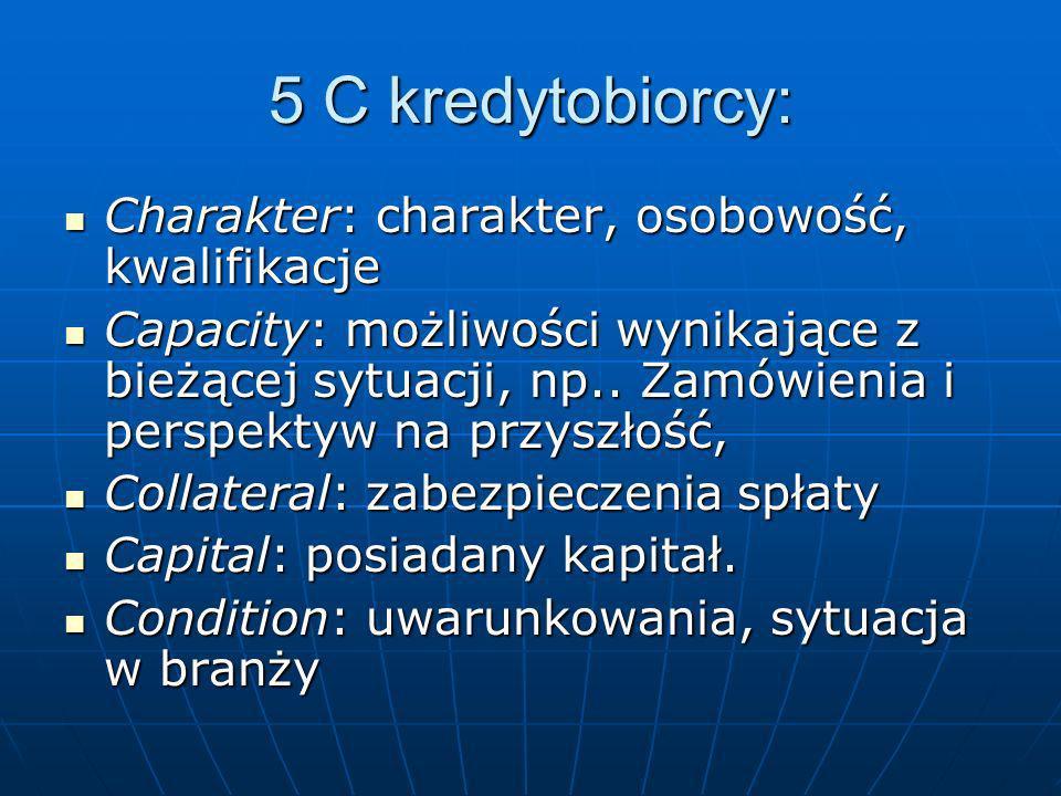 5 C kredytobiorcy: Charakter: charakter, osobowość, kwalifikacje