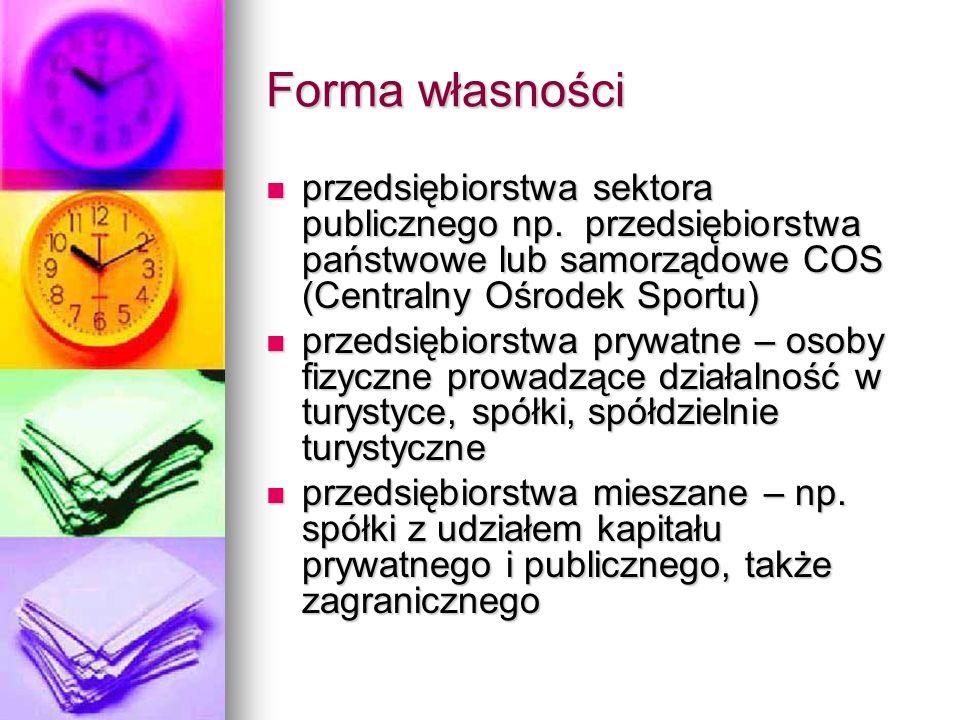 Forma własności przedsiębiorstwa sektora publicznego np. przedsiębiorstwa państwowe lub samorządowe COS (Centralny Ośrodek Sportu)