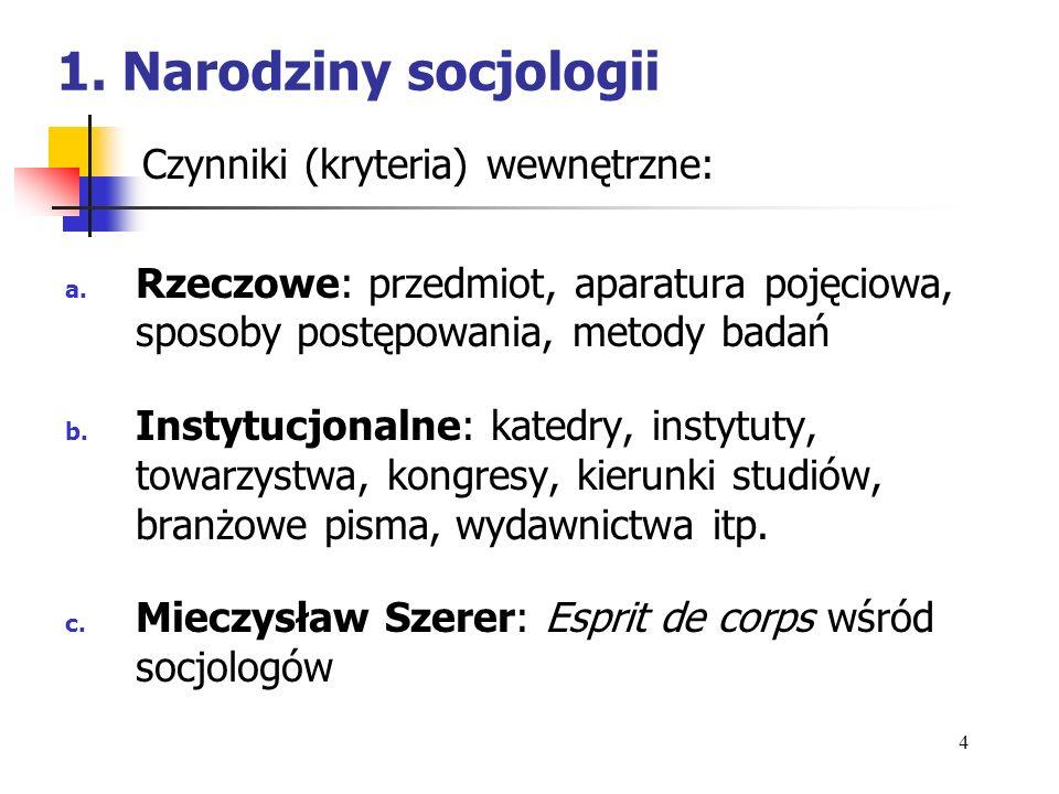 1. Narodziny socjologii Czynniki (kryteria) wewnętrzne: