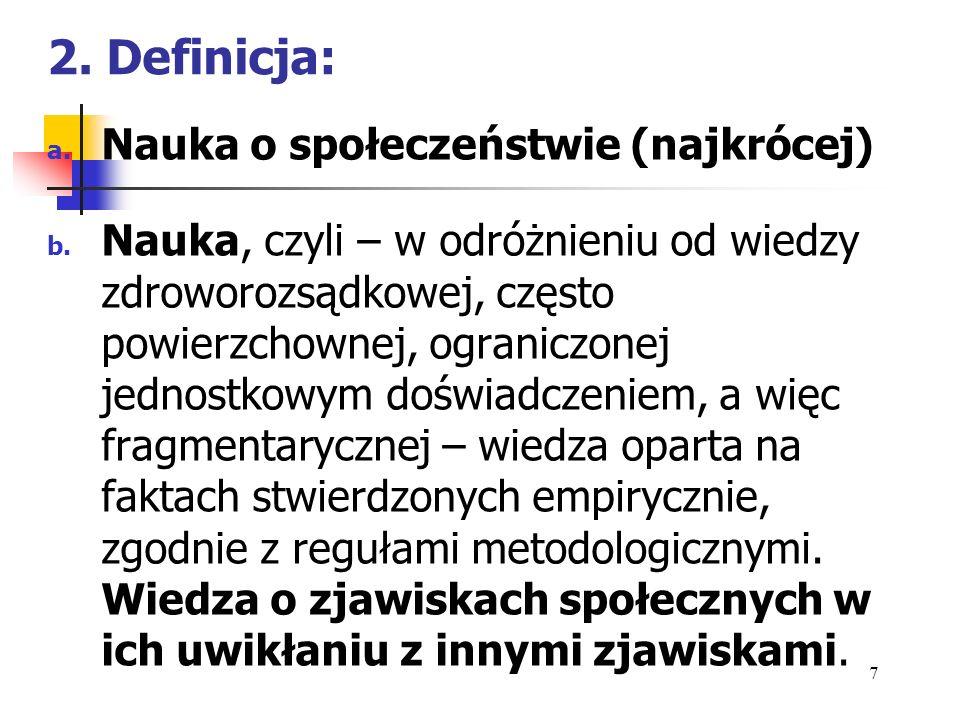 2. Definicja: Nauka o społeczeństwie (najkrócej)
