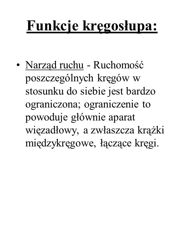 Funkcje kręgosłupa: