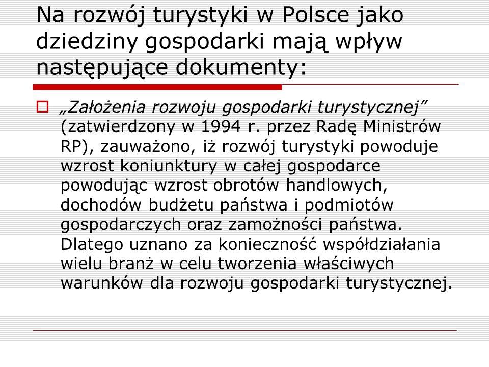 Na rozwój turystyki w Polsce jako dziedziny gospodarki mają wpływ następujące dokumenty: