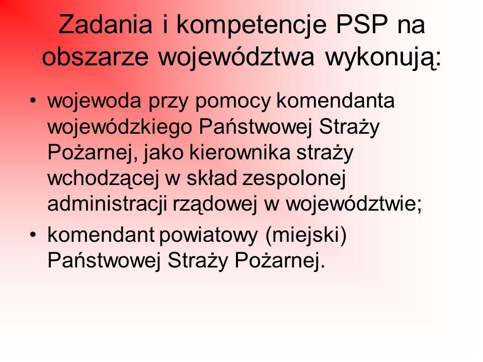 Zadania i kompetencje PSP na obszarze województwa wykonują: