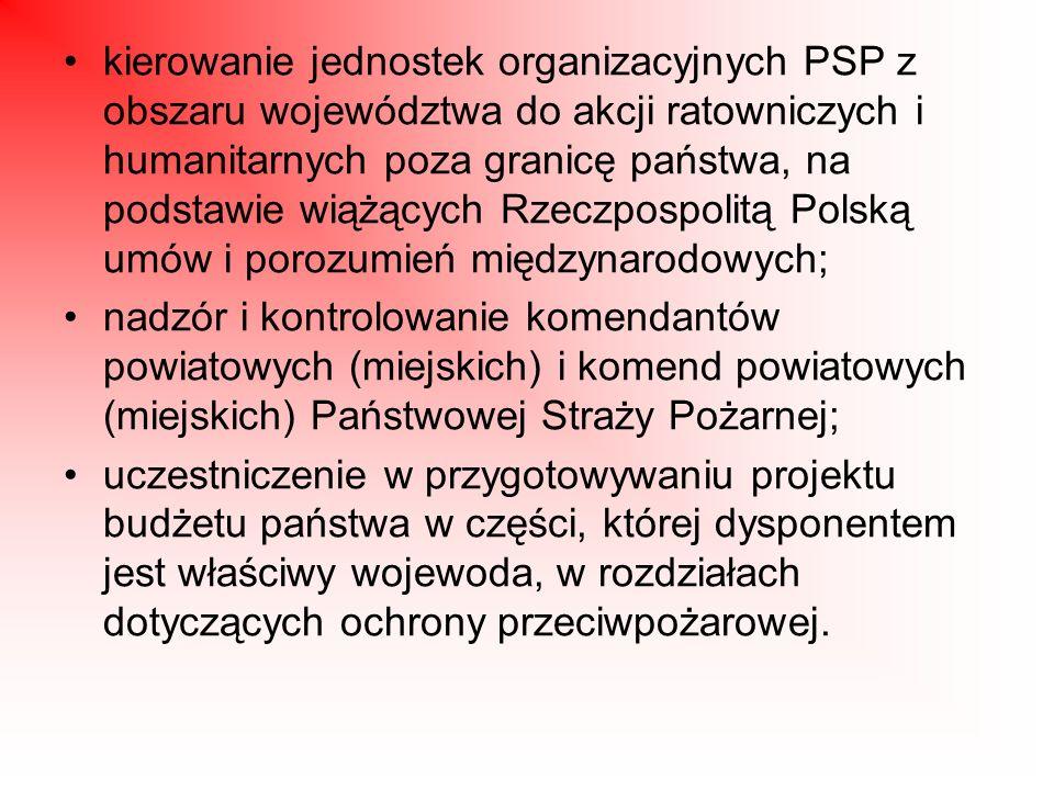 kierowanie jednostek organizacyjnych PSP z obszaru województwa do akcji ratowniczych i humanitarnych poza granicę państwa, na podstawie wiążących Rzeczpospolitą Polską umów i porozumień międzynarodowych;