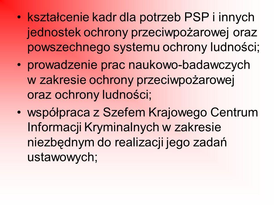 kształcenie kadr dla potrzeb PSP i innych jednostek ochrony przeciwpożarowej oraz powszechnego systemu ochrony ludności;