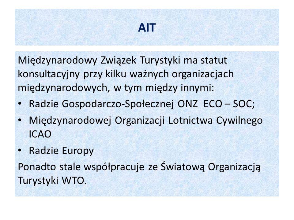 AIT Międzynarodowy Związek Turystyki ma statut konsultacyjny przy kilku ważnych organizacjach międzynarodowych, w tym między innymi: