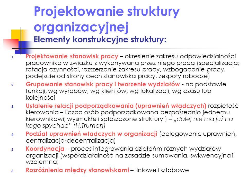 Projektowanie struktury organizacyjnej Elementy konstrukcyjne struktury: