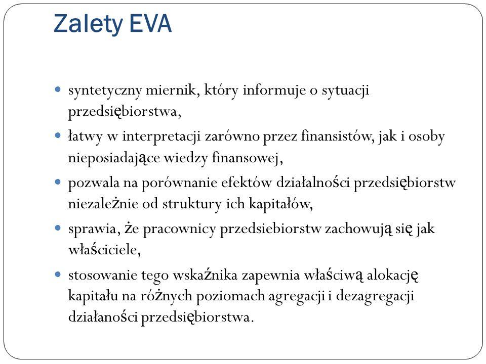 Zalety EVA syntetyczny miernik, który informuje o sytuacji przedsiębiorstwa,