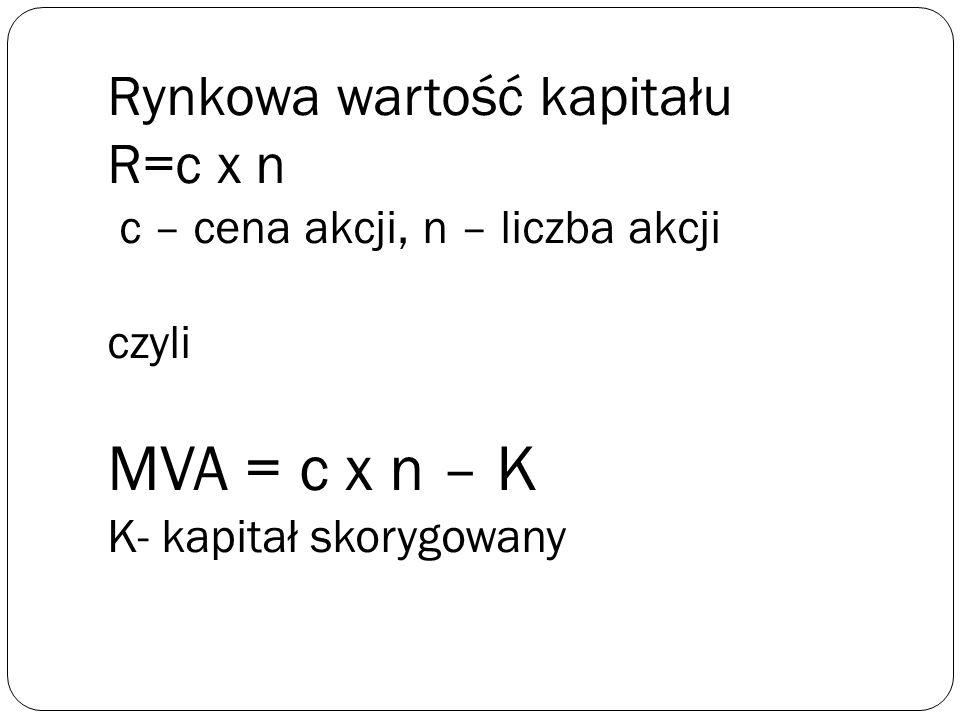Rynkowa wartość kapitału R=c x n c – cena akcji, n – liczba akcji czyli MVA = c x n – K K- kapitał skorygowany