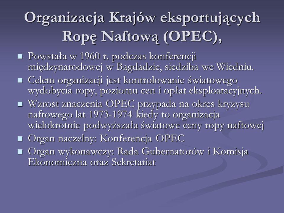 Organizacja Krajów eksportujących Ropę Naftową (OPEC),