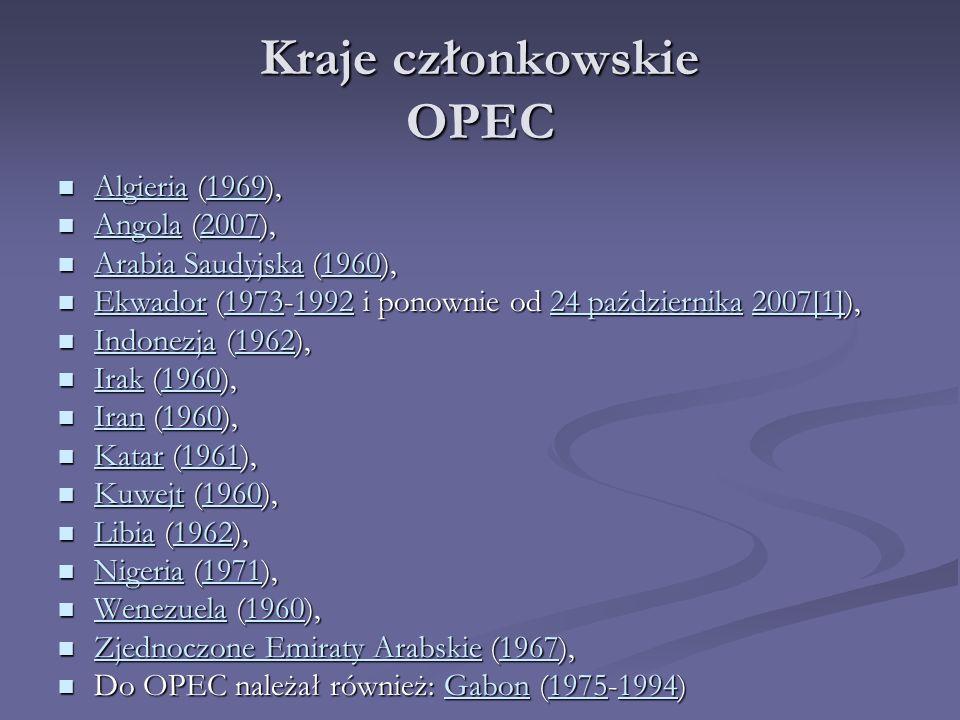 Kraje członkowskie OPEC