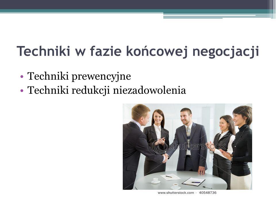 Techniki w fazie końcowej negocjacji