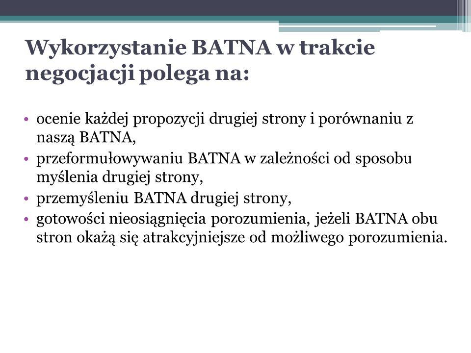 Wykorzystanie BATNA w trakcie negocjacji polega na: