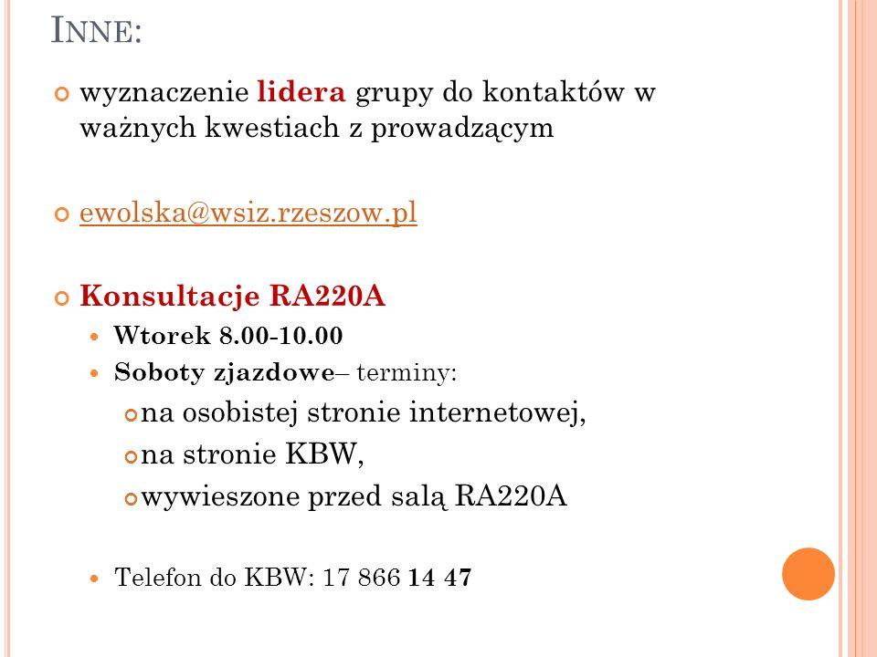 Inne:wyznaczenie lidera grupy do kontaktów w ważnych kwestiach z prowadzącym. ewolska@wsiz.rzeszow.pl.