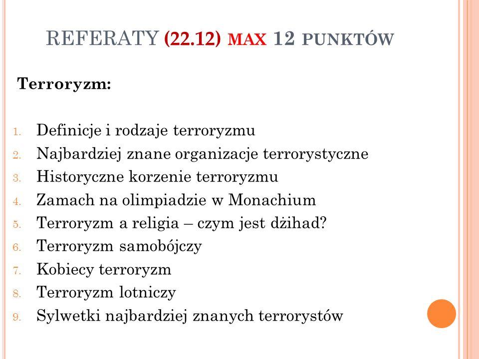 REFERATY (22.12) max 12 punktów