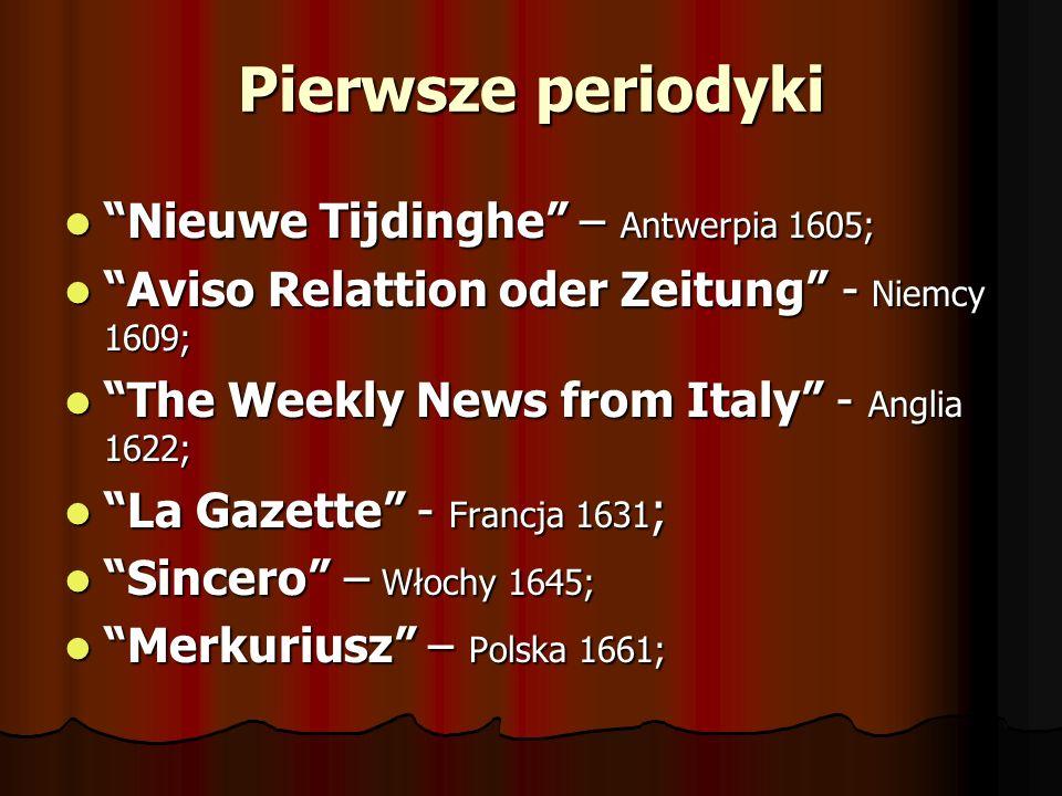 Pierwsze periodyki Nieuwe Tijdinghe – Antwerpia 1605;