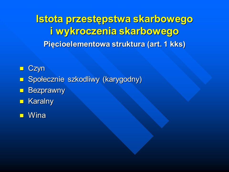 Istota przestępstwa skarbowego i wykroczenia skarbowego Pięcioelementowa struktura (art. 1 kks)