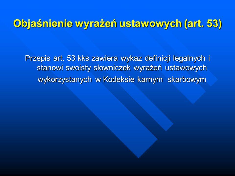 Objaśnienie wyrażeń ustawowych (art. 53)