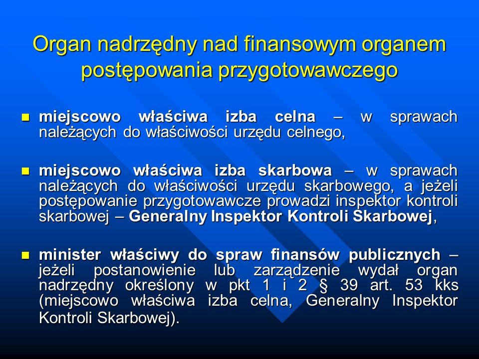Organ nadrzędny nad finansowym organem postępowania przygotowawczego