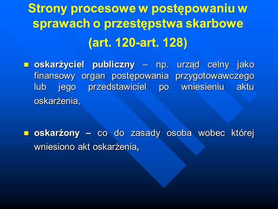 Strony procesowe w postępowaniu w sprawach o przestępstwa skarbowe (art. 120-art. 128)
