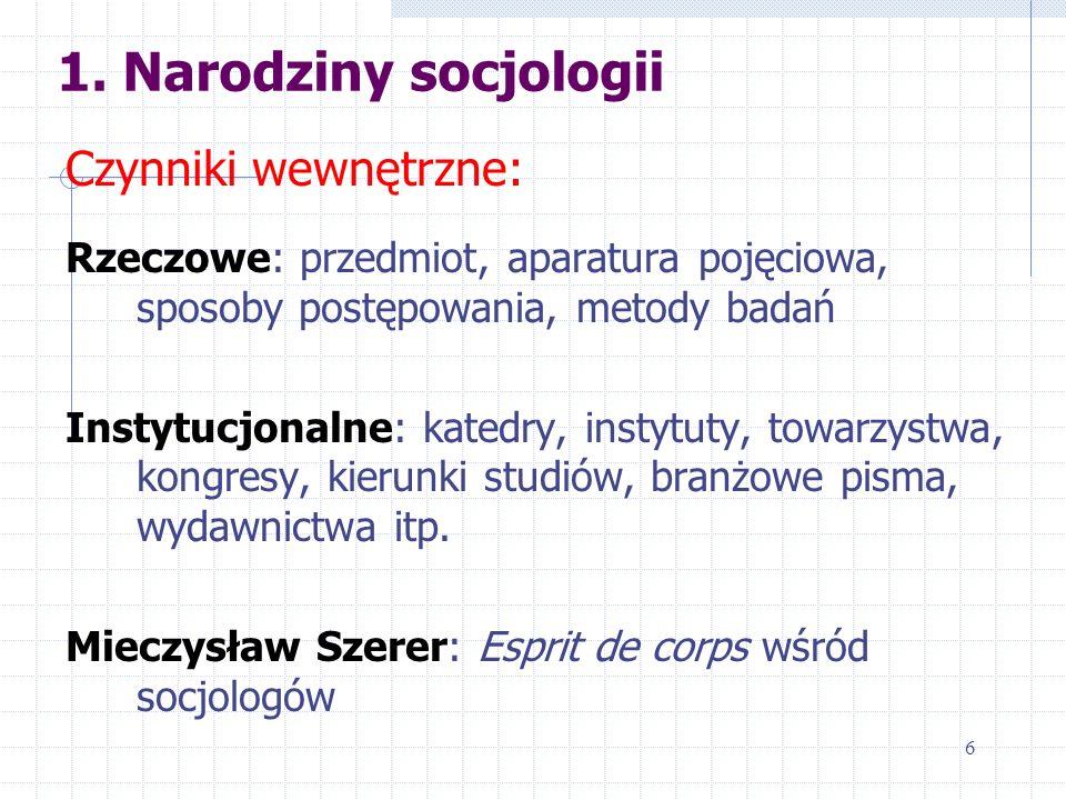 1. Narodziny socjologii Czynniki wewnętrzne: