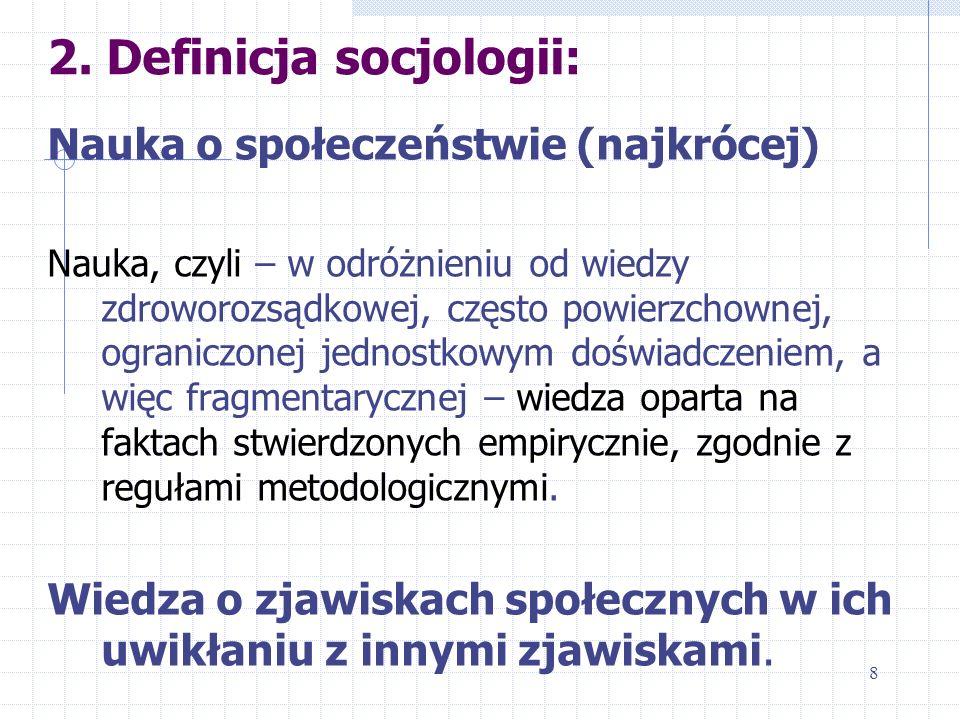 2. Definicja socjologii: