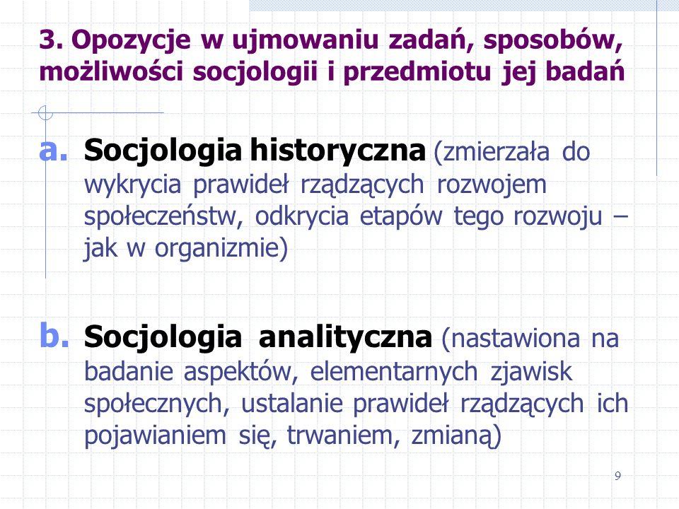 3. Opozycje w ujmowaniu zadań, sposobów, możliwości socjologii i przedmiotu jej badań