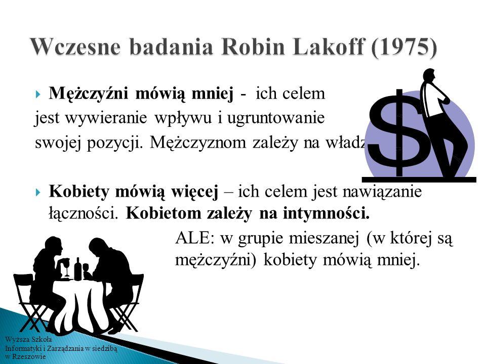 Wczesne badania Robin Lakoff (1975)