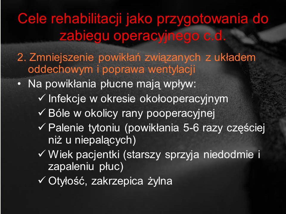 Cele rehabilitacji jako przygotowania do zabiegu operacyjnego c.d.