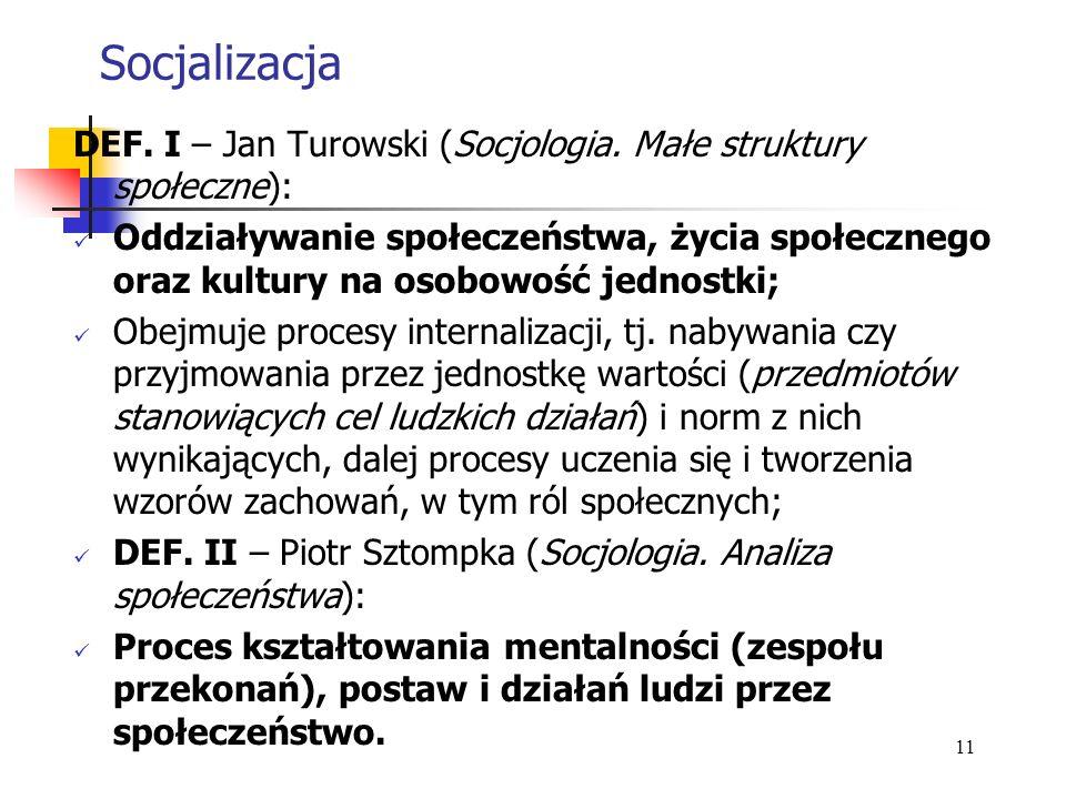 Socjalizacja DEF. I – Jan Turowski (Socjologia. Małe struktury społeczne):