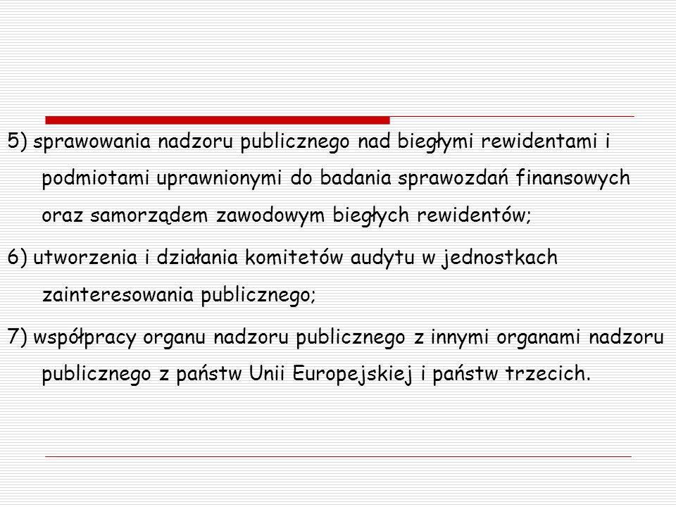 5) sprawowania nadzoru publicznego nad biegłymi rewidentami i podmiotami uprawnionymi do badania sprawozdań finansowych oraz samorządem zawodowym biegłych rewidentów; 6) utworzenia i działania komitetów audytu w jednostkach zainteresowania publicznego; 7) współpracy organu nadzoru publicznego z innymi organami nadzoru publicznego z państw Unii Europejskiej i państw trzecich.