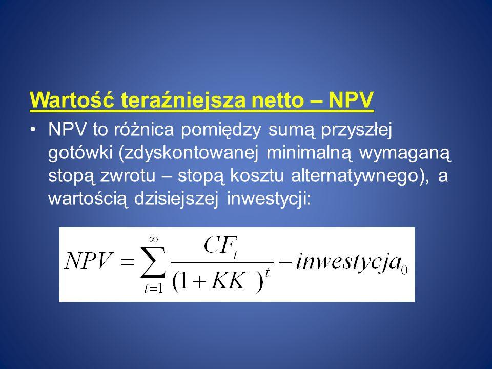 Wartość teraźniejsza netto – NPV