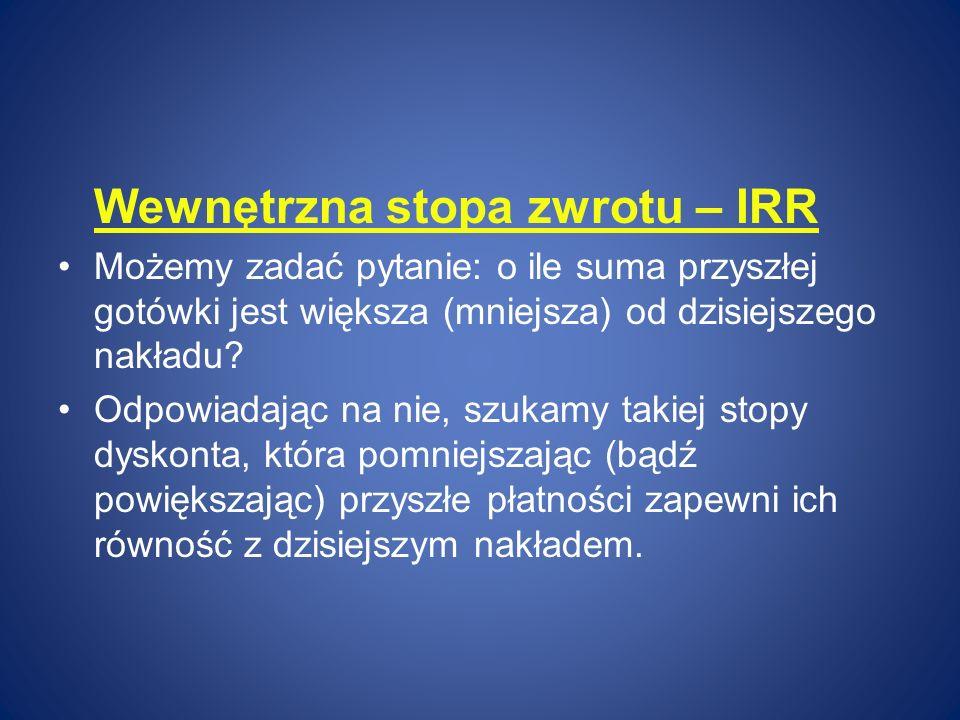 Wewnętrzna stopa zwrotu – IRR