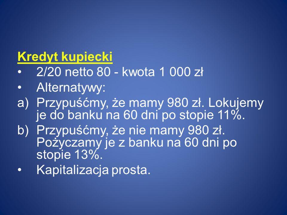 Kredyt kupiecki 2/20 netto 80 - kwota 1 000 zł. Alternatywy: Przypuśćmy, że mamy 980 zł. Lokujemy je do banku na 60 dni po stopie 11%.