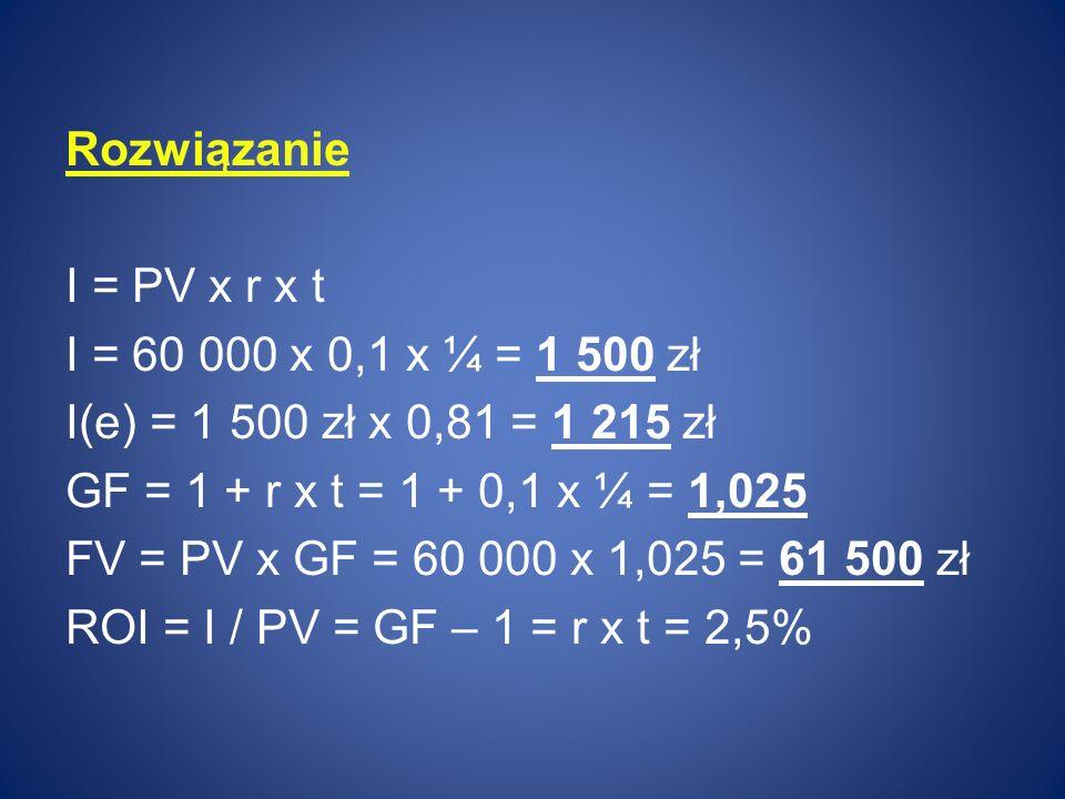 Rozwiązanie I = PV x r x t. I = 60 000 x 0,1 x ¼ = 1 500 zł. I(e) = 1 500 zł x 0,81 = 1 215 zł. GF = 1 + r x t = 1 + 0,1 x ¼ = 1,025.
