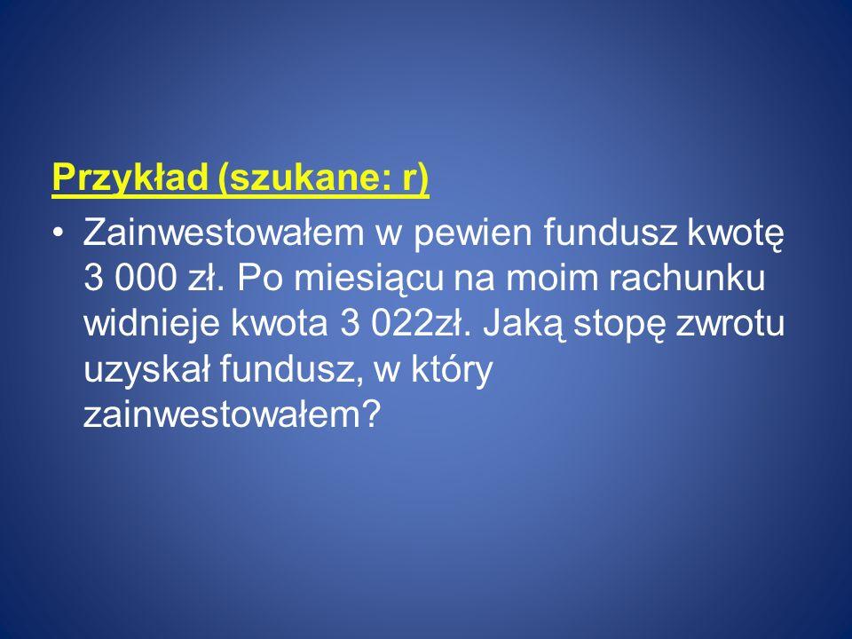 Przykład (szukane: r)