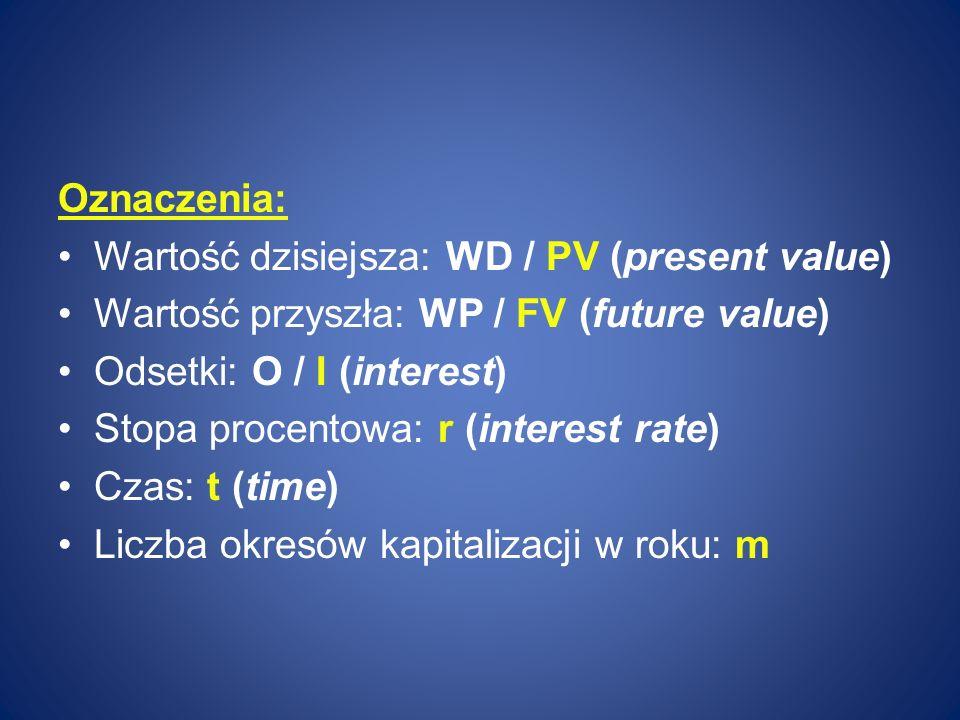 Oznaczenia: Wartość dzisiejsza: WD / PV (present value) Wartość przyszła: WP / FV (future value) Odsetki: O / I (interest)