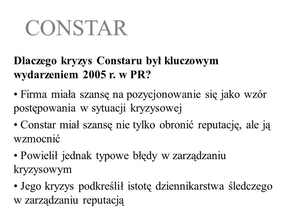 CONSTAR Dlaczego kryzys Constaru był kluczowym wydarzeniem 2005 r. w PR